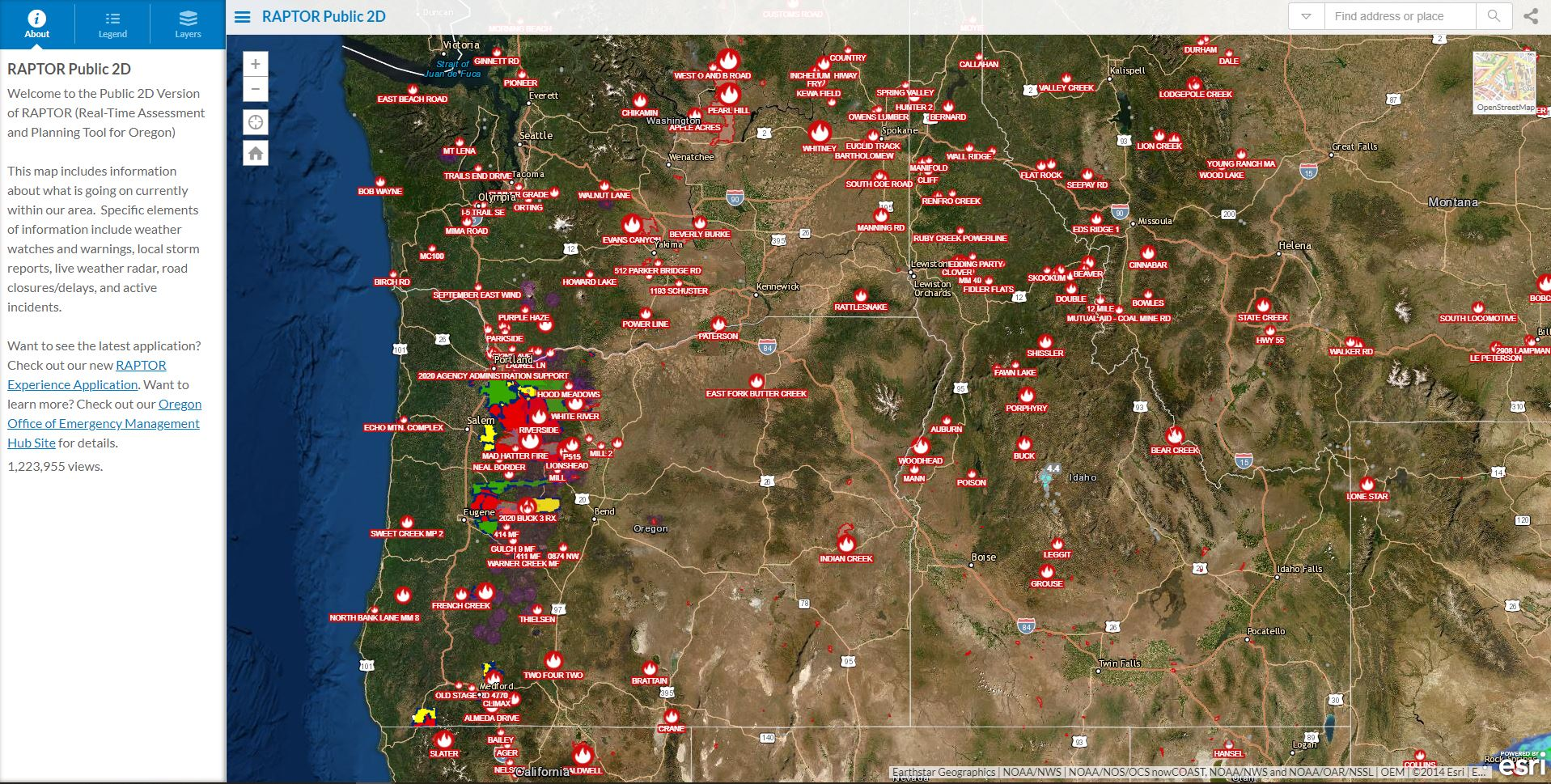 Map showing active wildfires in western United States